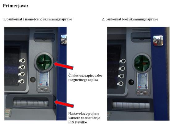 Primerjava bankomata z nameščeno skimming napravo in bankomata brez naprave. Na oko skimming naprave na bankomatu ni moč prepoznati. Foto: policija