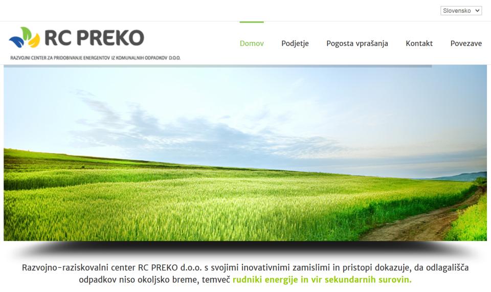 Spletna stran podjetja RC PREKO