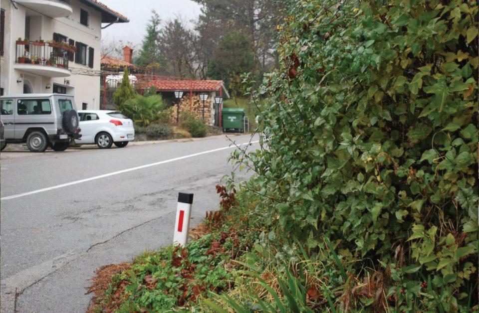 Slaba preglednost pri vključevanju na regionalno cesto s smeri Ravnice (pogled v smeri proti Lokvam). Foto: DRSI