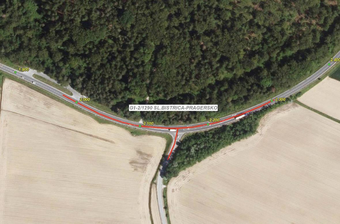 Trikrako križišče, ki se nahaja na cesti G1-2, ki poteka od avtocestnega priključka Slovenska Bistrica, preko Ptuja, do Ormoža in naprej do mednarodnega mejnega prehoda Središče ob Dravi. Foto: DRSI