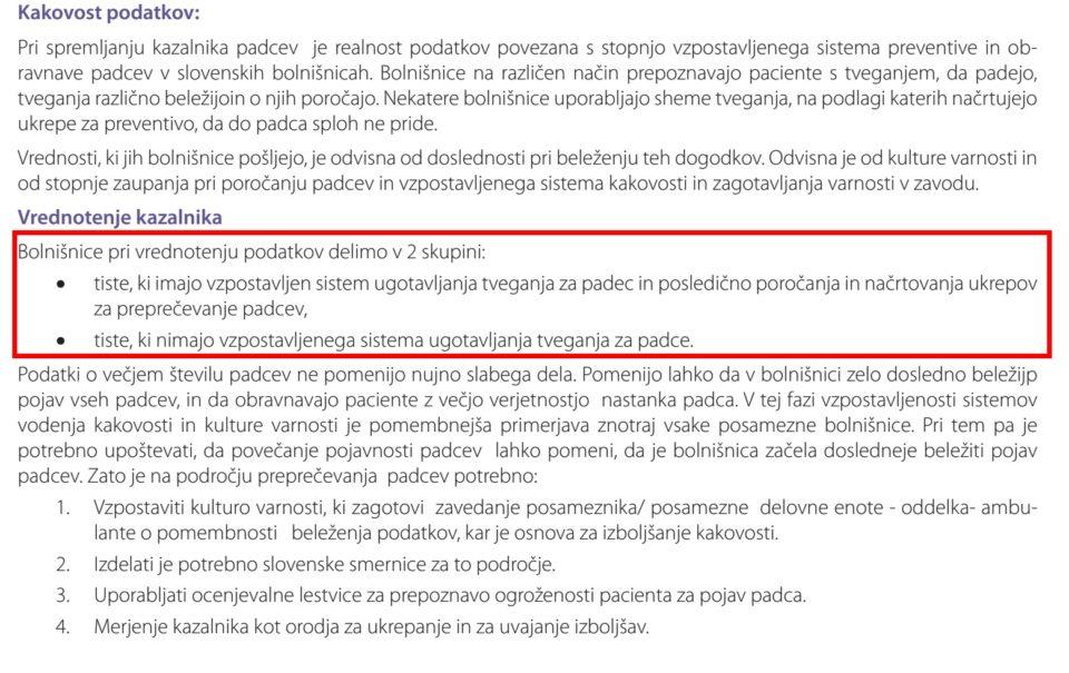 Izsek iz poročila o kazalnikih kakovosti v zdravstvu 2012-2013. Po poročilu sodeč v Sloveniji bolnišnice delimo v dve skupini: tiste, ki imajo sistem za preprečevanje padcev, in tiste, ki ga nimajo. A nihče ne ve, katere bolnišnice spadajo v prvo in katere v drugo skupino.
