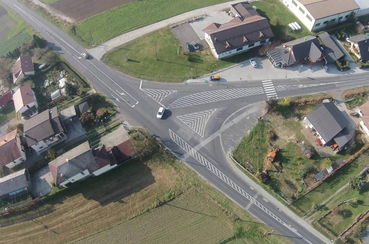 Zračni posnetek križišča. Foto: DRSI