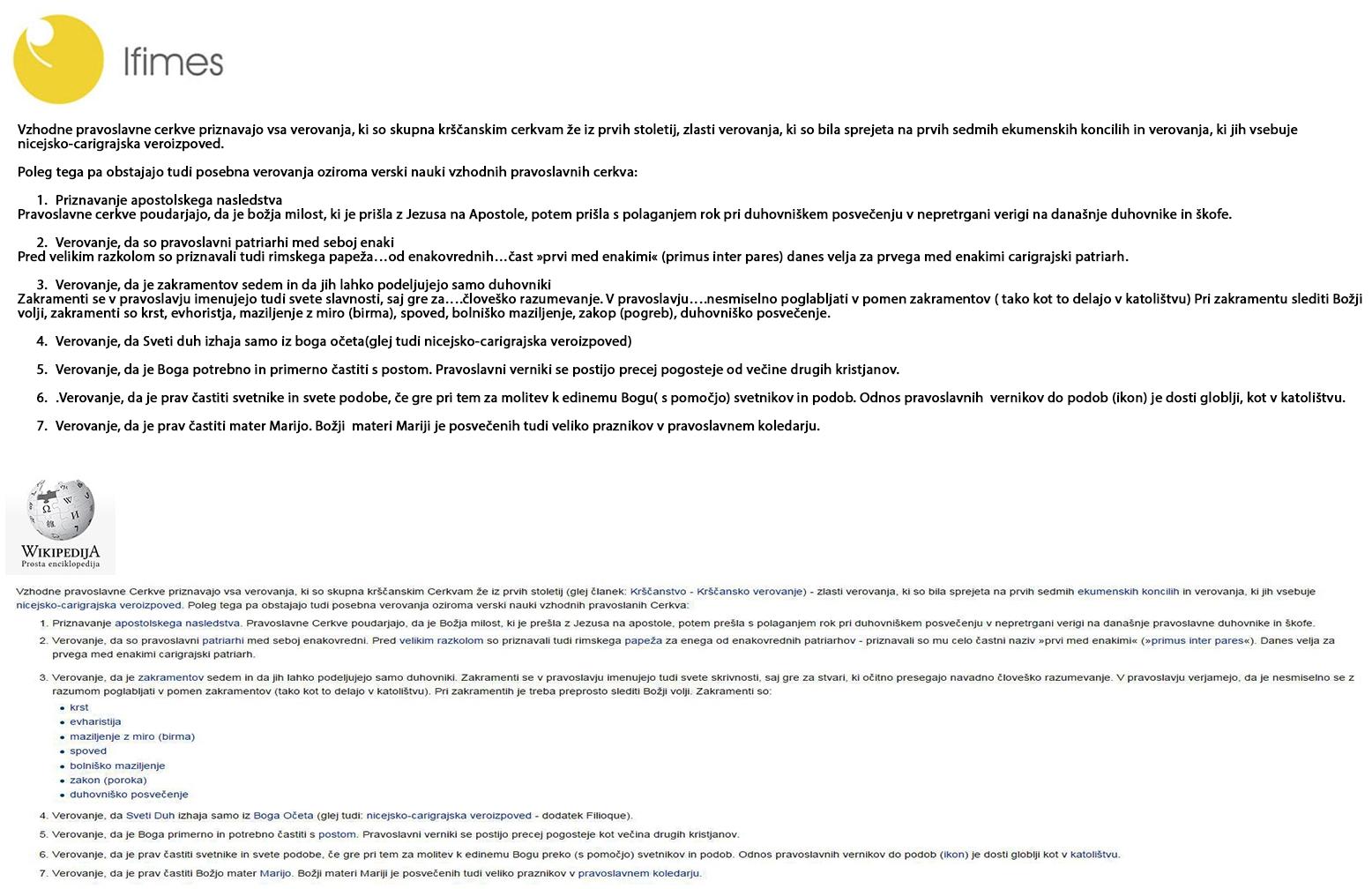 Primerjava dela študije IFIMES-a in Wikipedije. Vir: Eugenija Carl/RTV Slovenija