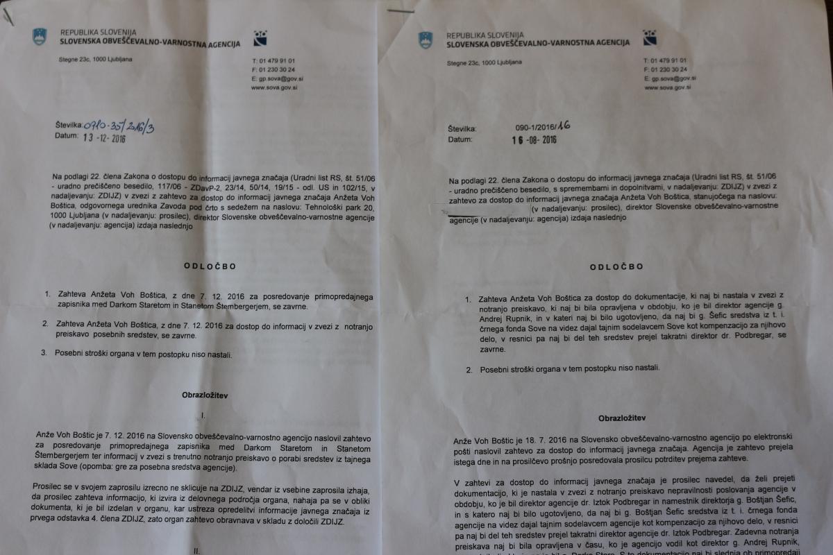 Zavrnilne odločbe SOVA na naše zahteve po informacijah javnega značaja o primeru.