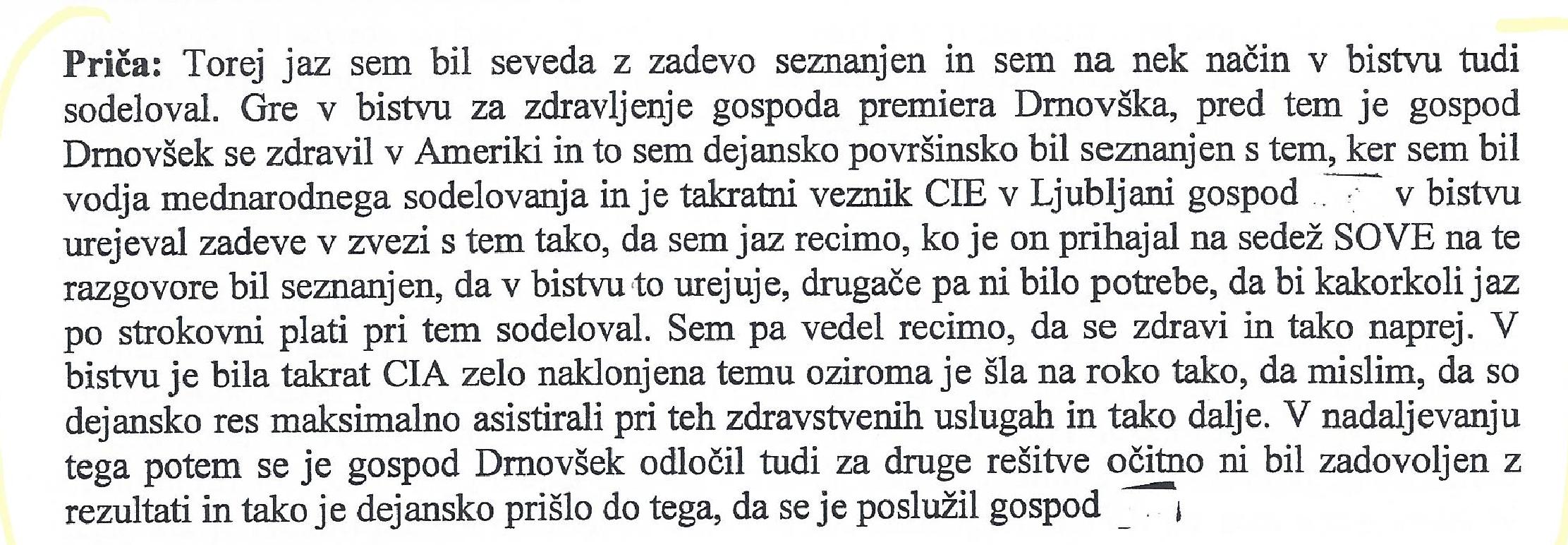 Pričanje Denisa Poljaka (prvi del). Vir: sodni spis.