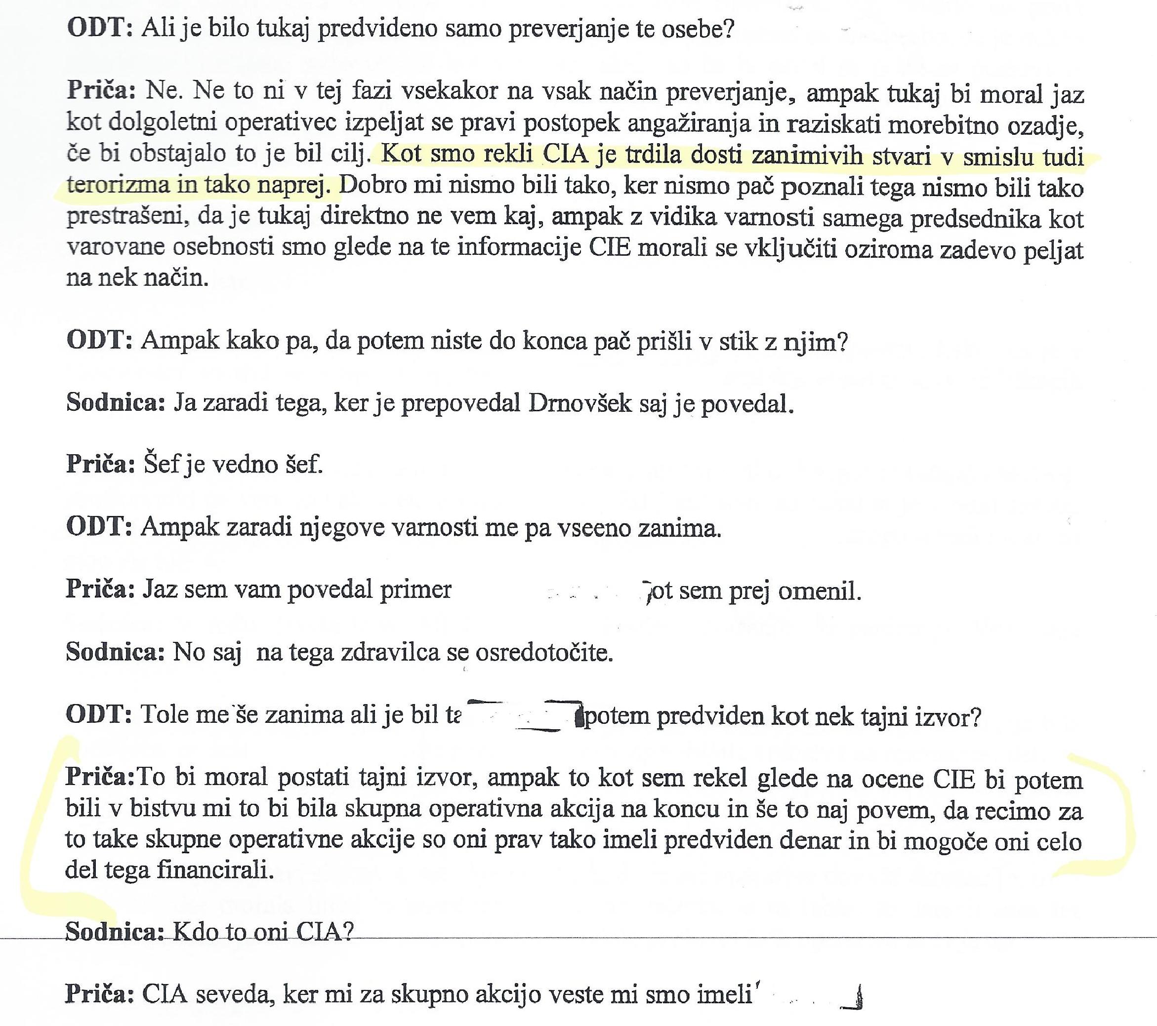 Pričanje Denisa Poljaka (drugi del). Vir: sodni spis.